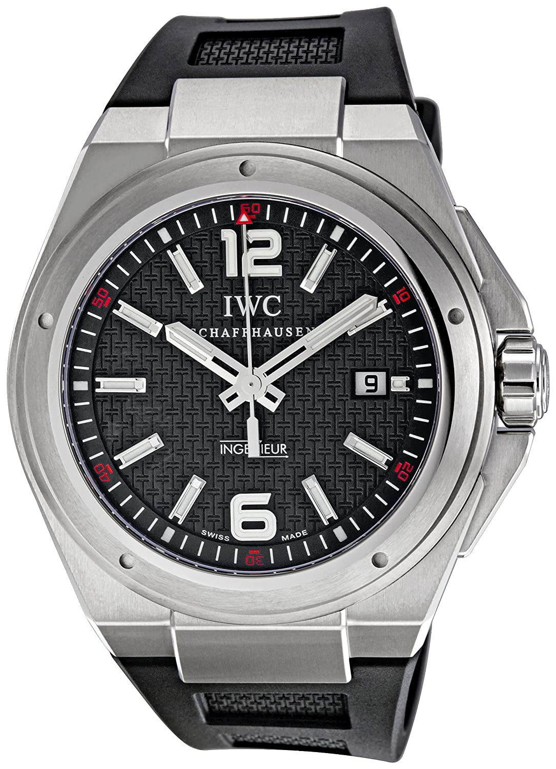IWC Men s IW323601 Ingenieur Mission Earth Black Textured Dial Watch