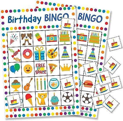 Amazon.com: DISTINCTIVS Juego de bingo de cumpleaños para ...