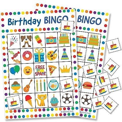 Amazon Com Distinctivs Birthday Bingo Game For Kids 24 Players