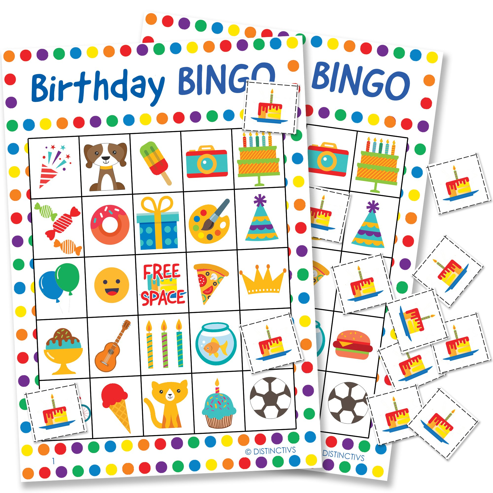 DISTINCTIVS Birthday Bingo Game for Kids - 24 Players