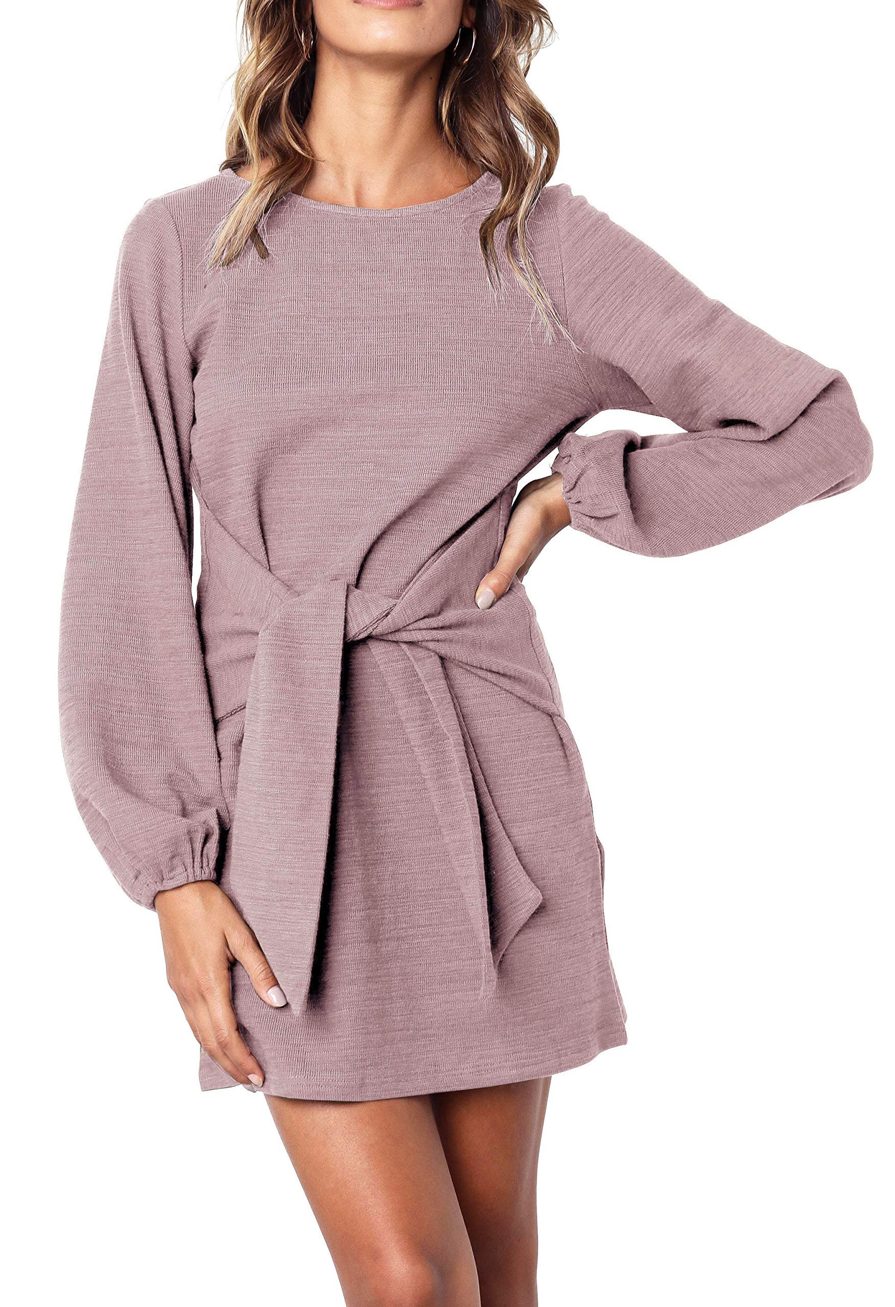 R.Vivimos Women's Autumn Winter Cotton Long Sleeves Elegant Knitted Bodycon Tie Waist Sweater Pencil Dress (Large, Light Violet)