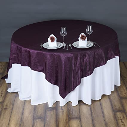 BalsaCircle 72x72 Inch Eggplant Purple Taffeta Crinkle Table Overlays    Wedding Reception Party Catering Table