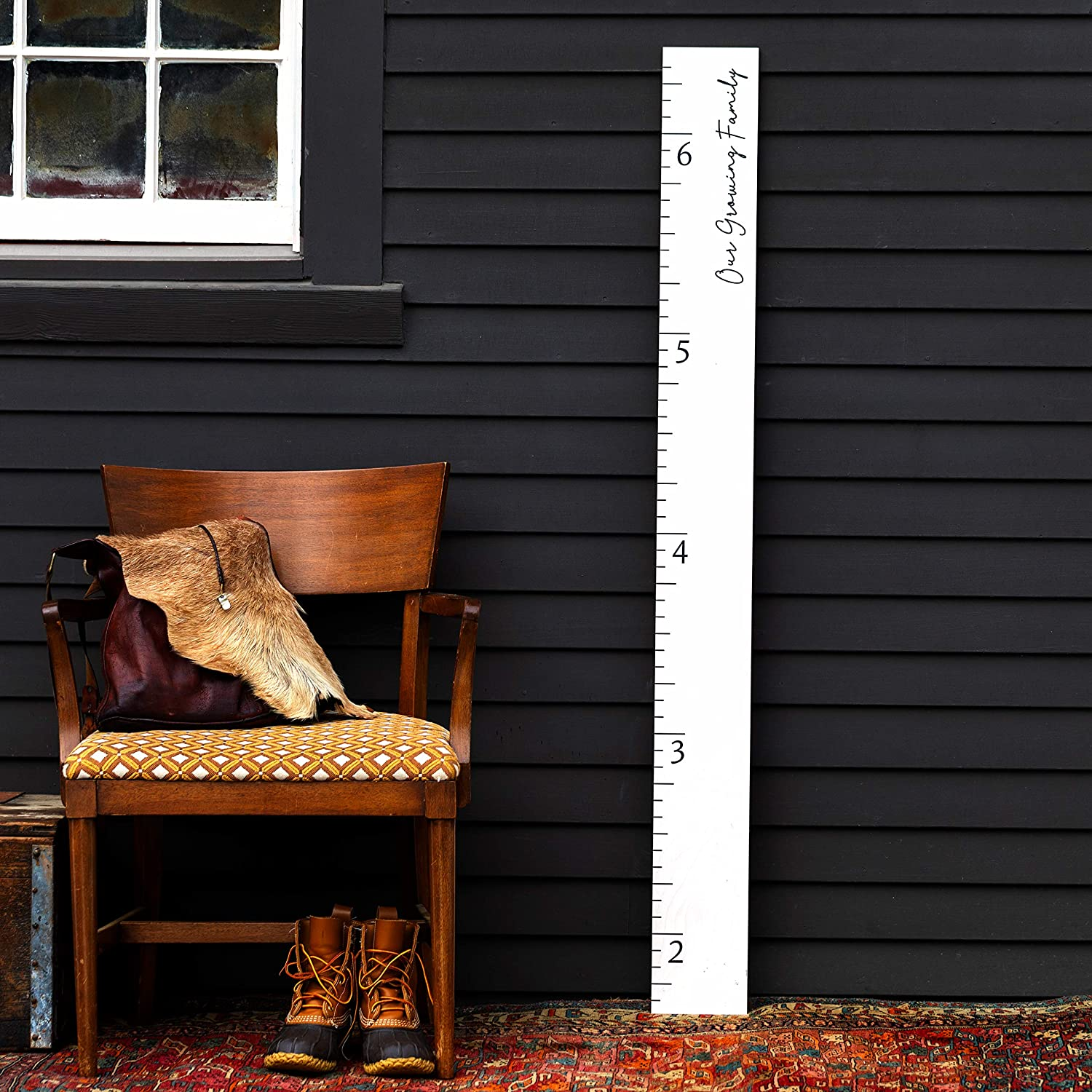 Love Grows Here White Washed Wood Boho Farmhouse Wooden Ruler Growth Height Chart