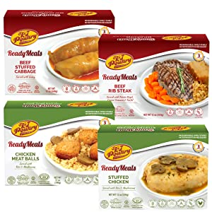 Kosher Mre Meat Meals Ready to Eat, Variety of Beef Rib Steak, Stuffed Cabbage Rolls, Chicken Breast, Chicken Meat Balls (4 Pack Bundle) - Prepared Entree Fully Cooked, Shelf Stable Microwave Dinner