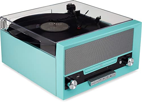 ClearClick All-in-One Turntable with CD Player, FM Radio, Bluetooth, Aux-in, USB – Vintage Retro Modern Design Turquoise