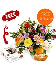 Fresh Christmas Flowers Delivered - Friendship Bouquet including Mixed Carnations and Freesias With Merry Christmas Bear, Free Chocolates, Flower Food and Bonus Ebook Guide - Perfect For Xmas Gifts