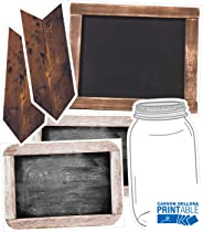 Industrial Chic Printable Shiplap Chalkboard, Mason Jar, and Wooden Signs