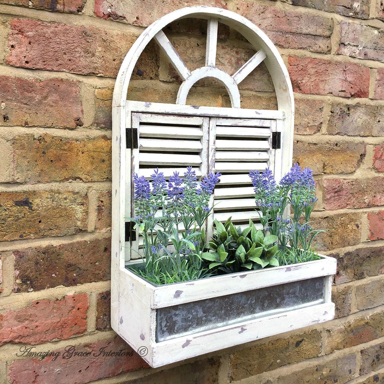 French Vintage Style Wooden Wall Garden Planter Flower Pots Herbs Window Box Garden Decor
