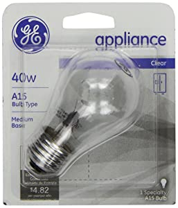 GE 15206, 40-Watt, Appliance Bulb, Medium Base, A15 Bulb Shape, 1-pk, 120-Volt