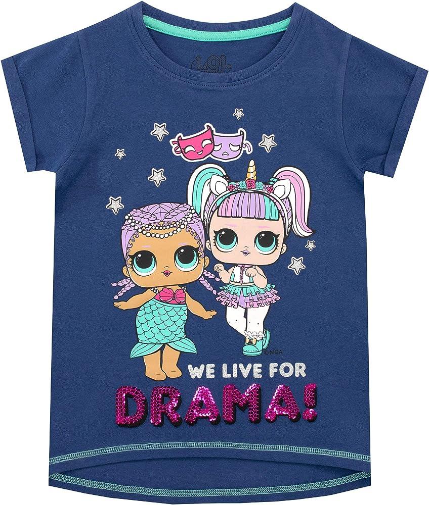 LOL Surprise Camiseta de Manga Corta para niñas Azul 5-6 Años: Amazon.es: Ropa y accesorios
