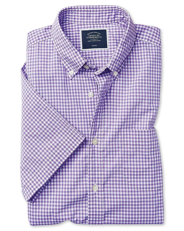 Chemise à Manches Courtes En Popeline Stretch Soft Washed violets à voiturereaux Vichy Slim Fit Sans Repassage   violets (Poignet Simple)   XXL