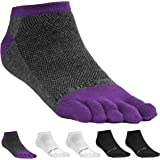 FUN TOES Women's Cotton Toe Socks-Breathable-6 PAIRS Pack-Size 9-11-Lightweight
