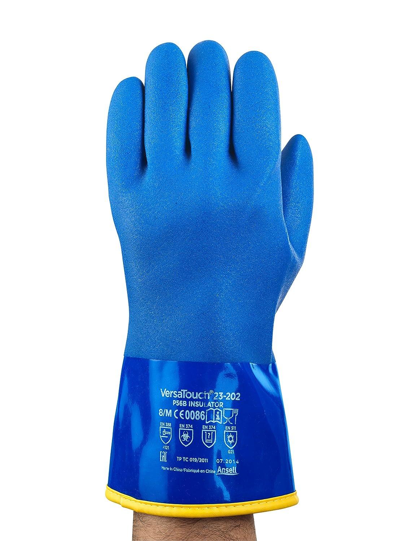 bolsa de 6 pares Protecci/ón contra productos qu/ímicos y l/íquidos Tama/ño 8 Ansell 23-202//8 VersaTouch Fines especiales guante Azul