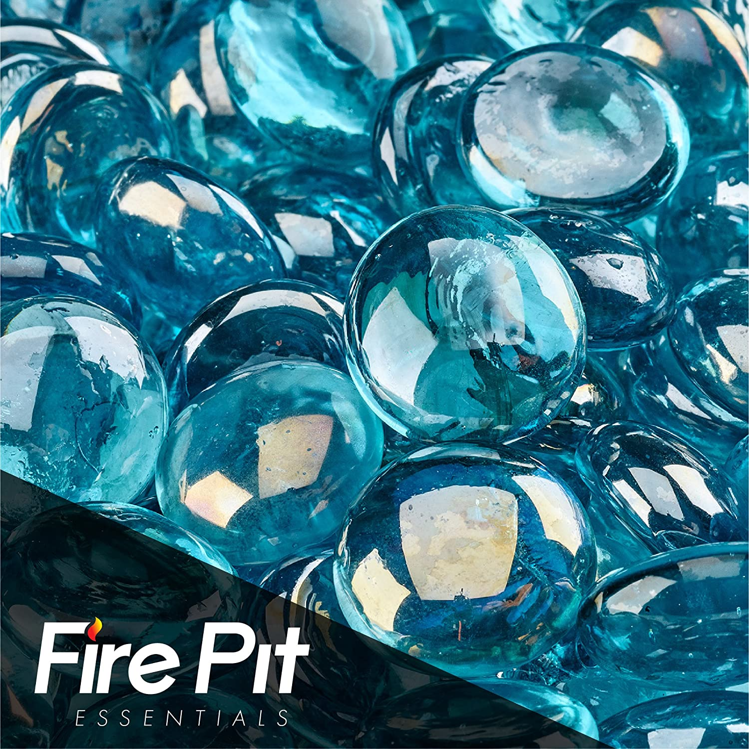 Fireglass Fire Beads Fireplace Glass and Fire Pit Glass, 10-pound, Aqua Blue Luster Fire Pit Essentials