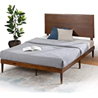 Zinus Double Bed Frame with Adjustable Headboard | Raymond Deluxe Wooden Mid Century | Platform Solid Wood Bed