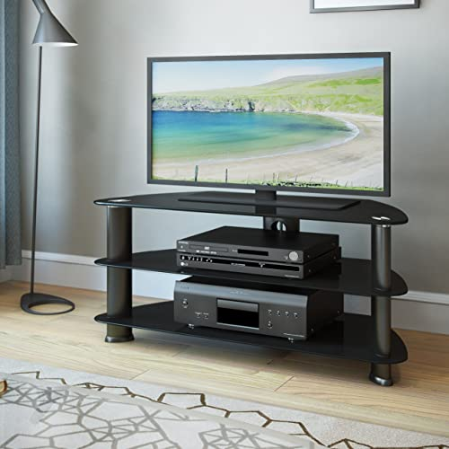 CorLiving Laguna Satin Black Corner TV Stand Glass Shelves, for TV Up To 50