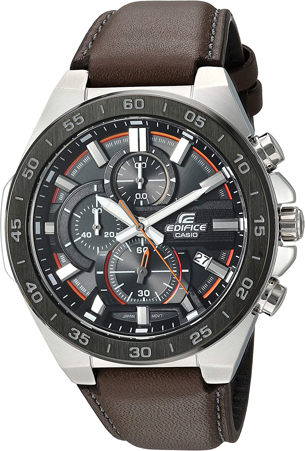 Casio Men s Edifice Stainless Steel Quartz Watch with Leather Strap, Brown, 21.3 Model EFR-564BL-5AVCR