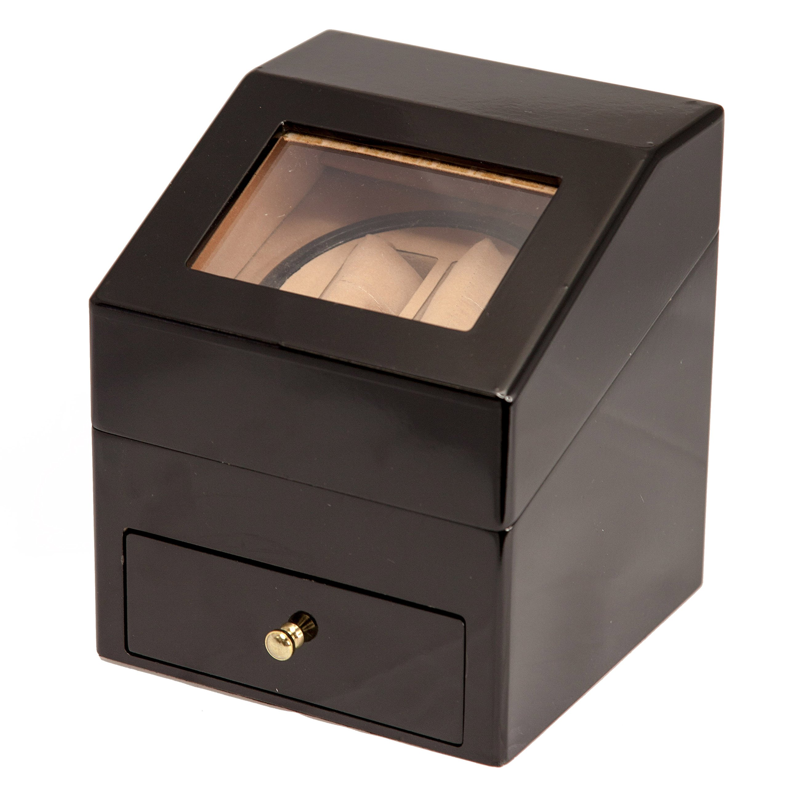 BRAND NEW BLACK WOOD 2+2 AUTOMATIC DUAL / DOUBLE WATCH WINDER DISPLAY STORAGE BOX BATTERY OR AC/DC POWER