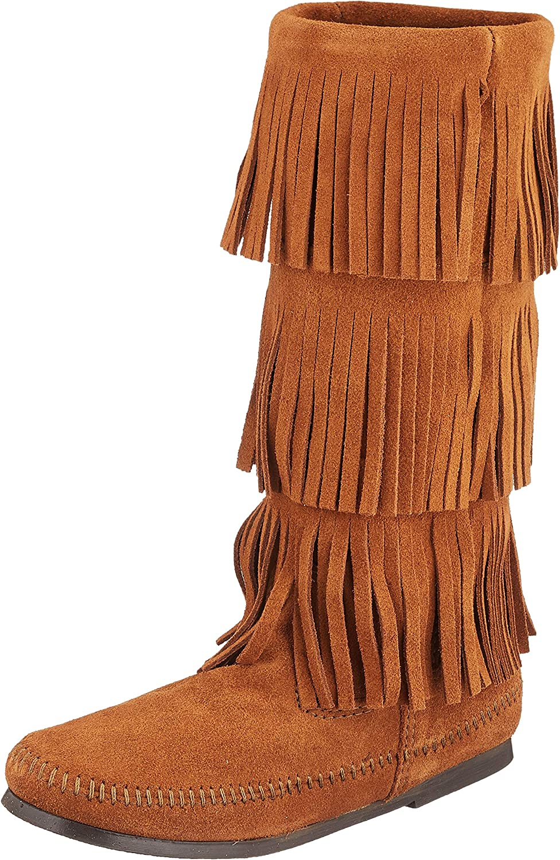 Minnetonka Mujeres 3-Layer Fringe Punta Cerrada Piel Botas de Moda, Talla