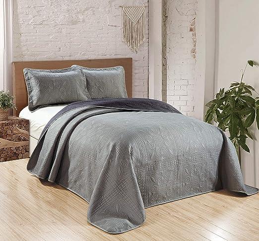 Fancy Linen 2pc Twin Luxury Bedspread Embossed Solid Spa Blue Oversize New