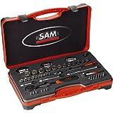 """Sam Outillage 75-RS1Z Coffret de Douilles avec accessoires 1/4"""" 1/2"""" 51 outils"""