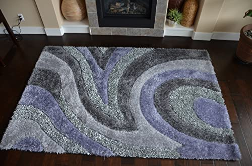 happy snow moose Newest Design Abstract Purple Grey Color shag Soft Shiny Spark Rugs 8X10
