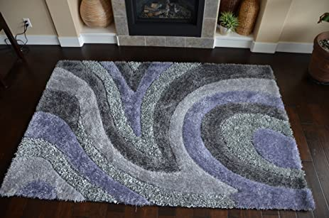 newest design abstract purple grey color shag soft shiny spark rugs 8x10