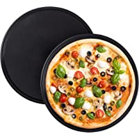 Relaxdays Pizzaplaat, set van 2, rond, antiaanbaklaag, pizza & flambée, koolstofstaal, pizzavorm,? 32 cm, grijs…