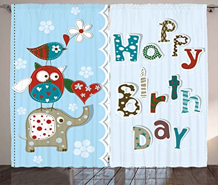 Ambesonne Birthday Decorations For Kids Curtains Patchwork Inspired Owl Birds Elephant Flowers Living Room