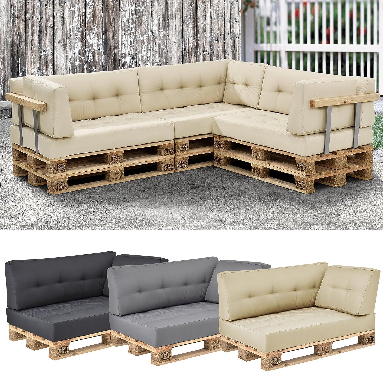[en.casa] 1x cuscino angolare per divano palette euro [beige] cuscino per palette per fuori e dentro