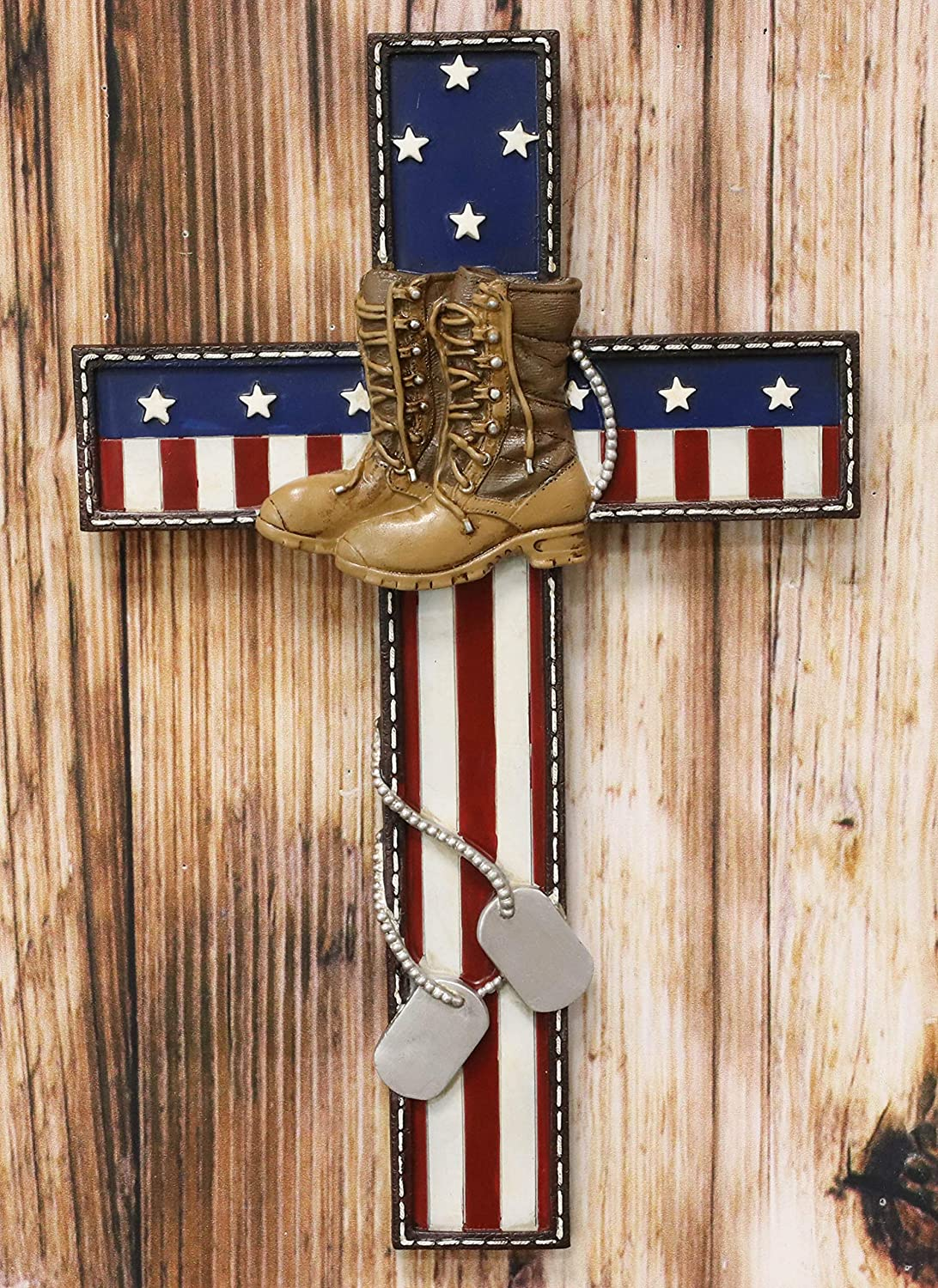 Ebros Gift Rustic Western USA American Flag Military Fallen Soldier With Tactical Boots And Dog Tags Memorial Wall Cross Decor Plaque Vintage Design Hanging Sculpture 11.75
