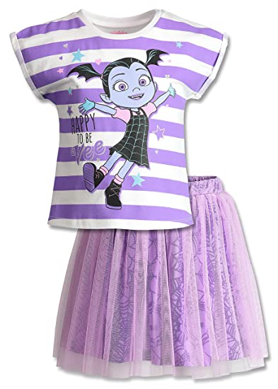 ccbbc68db Disney Vampirina Toddler Girls' Short Sleeve T-Shirt & Skirt Clothing Set,  Purple
