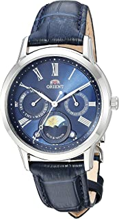 Orient Mens Sun and Moon Petite Quartz Stainless Steel and Leather ...