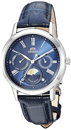 Orient Mens Sun and Moon Petite Quartz Stainless Steel and Leather Dress Watch,