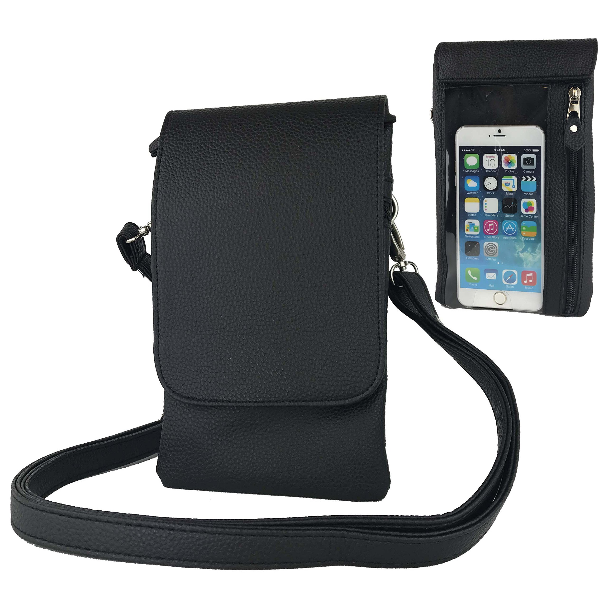 Charm14 Womens Hudson Cross Body Cell Phone Bag, 1-Black
