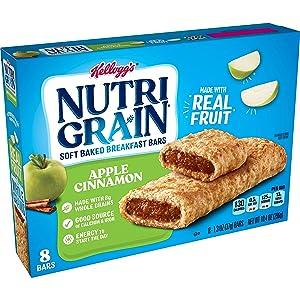 Kellogg's Nutri-Grain, Soft Baked Breakfast Bars, Apple Cinnamon, Made with Whole Grain, 10.4 oz (8 Count)