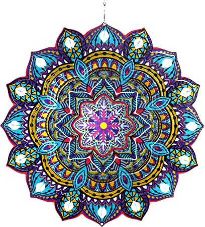 12 inch Metal FLORAL Mandala beautiful Wind Spinner-and  Free Shipping