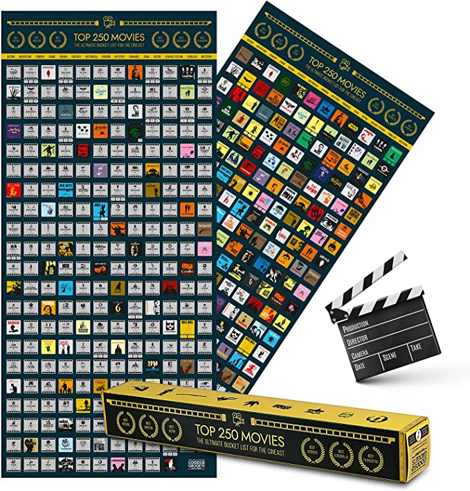 100 x 45 cm Ultimate Film Guide with the best movies of all times Top 250 Movie Bucket List Scratch Map Poster XXL