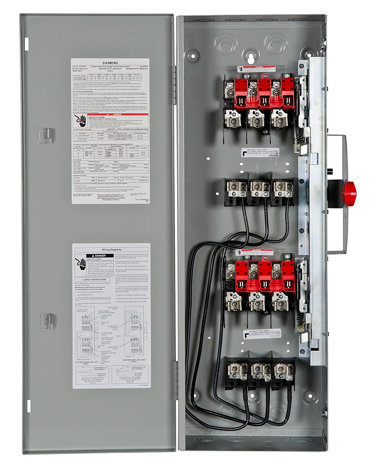 Siemens Dtf362 60 Amp 3 Pole 600 Volt Wire Fused Double Throw Ohio Home Wiring Circuit Diagram Type 1