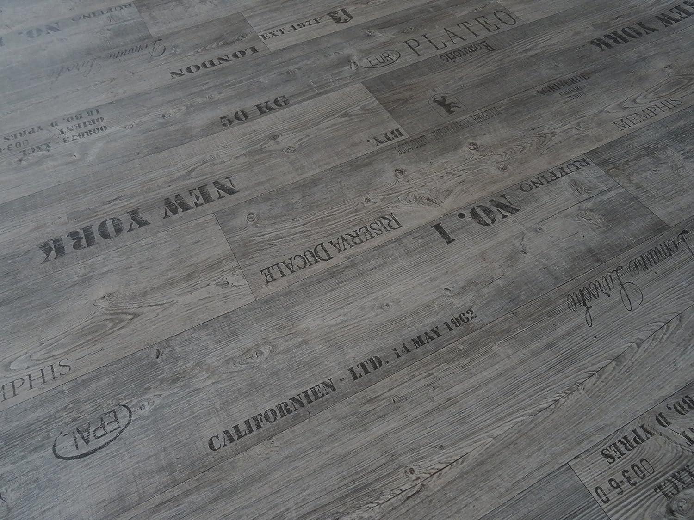 PVC mit Schriftz/ügen von Alpha-Tex 9.95/€//m/² L/änge: 250 cm, Breite: 400cm grau