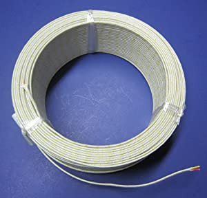 K-Type Thermocouple Wire AWG 24 Solid w. High Temperature Fiberglass Insulation up to 700 Degree C or 1300 F - 10 Yard roll (Color: Yellow)