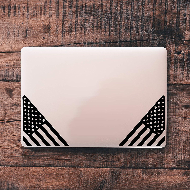 Northern Dock American Flag Decal Vinyl Die Cut US Bumper Sticker 1 Pair, Matte Black