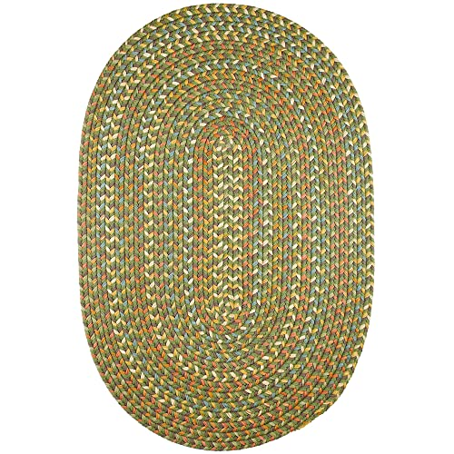 Super Area Rugs Confetti Braided Rug Traditional Rug Textured Durable Green Casual Decor Carpet, 5 X 8 Oval