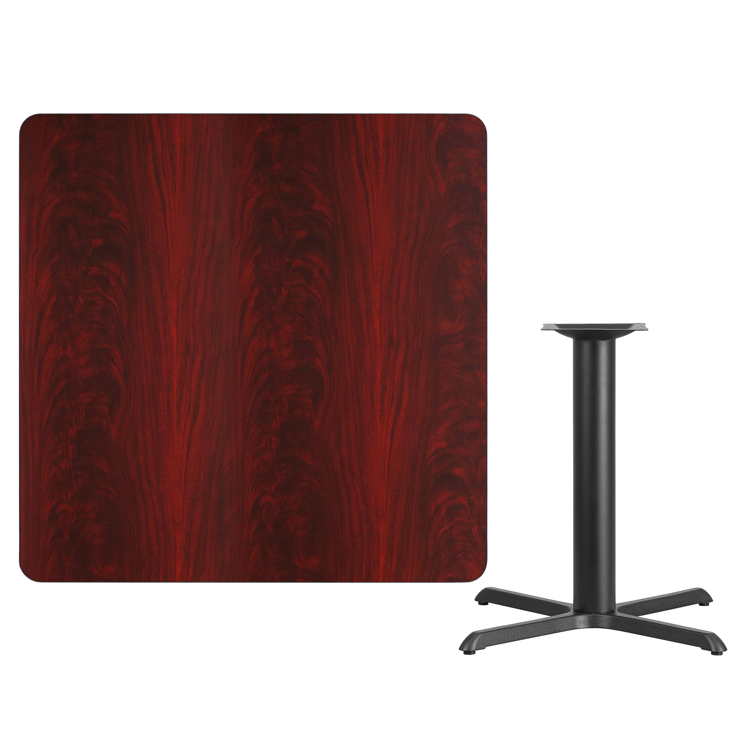 42'' Square Mahogany Laminate Table Top with 33'' x 33'' Table Height Base