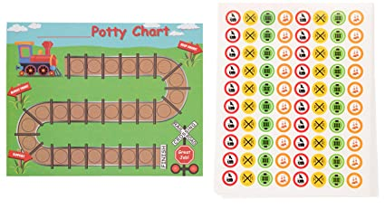 Blue Panda Potty Training Reward Chart Pack Of 50 Sheets And 800 Stickers Train And Railroad Themed Toilet Training Kit For Toddlers Motivational