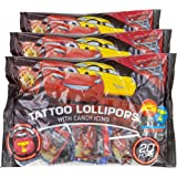 Disney Cars Tongue Tattoo Lollipops With Candy Icing   Strawberry & Blue Raspberry Flavored   20 Pops Per bag 3.52 Oz - Pack of 3 (Total 60 Pops) Halloween Thanksgiving Christmas Birthday