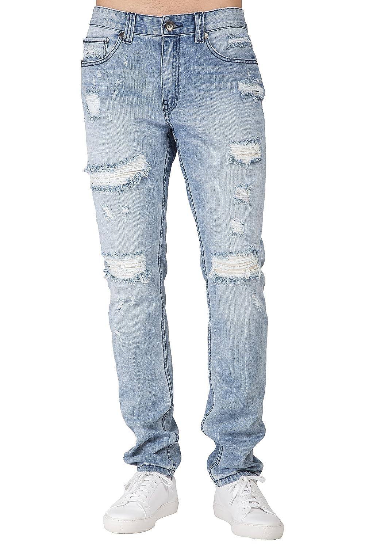 32430851fef Level 7 Men s Distressed Powder Blue Slim Tapered Leg Premium Denim Jeans  Ripped Repaired at Amazon Men s Clothing store