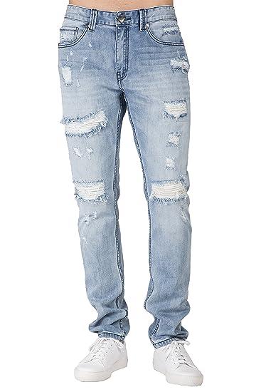6f238e59e91 Level 7 Men's Distressed Powder Blue Slim Tapered Leg Premium Denim Jeans  Ripped Repaired Size 30