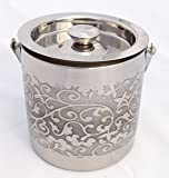 Stainless Steel Double Walled Ice Bucket Etching Flower finish