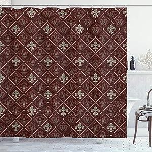 Ambesonne Fleur De Lis Shower Curtain, Fleur-de-Lis in Diamond Shape Lines Classical Cultural Victorian Style, Cloth Fabric Bathroom Decor Set with Hooks, 70